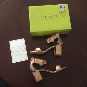 Tex Baker London Kerria Rose Gold zip heel sandals